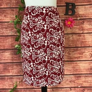 Talbots Skirt size 6 Petite Red white Floral Lace